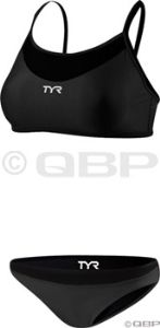 Triathlon- TYR Women's Thin Strap Reversible 2-Piece Swimsuit: Black/Gray
