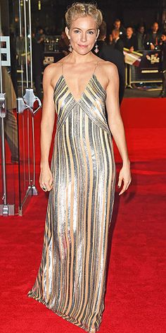SIENNA MILLER As just witnessed during Paris Fashion Week, stripes can be glam and formal. The Foxcatcher star proves that point, selecting a silver gown by Galvan for the premiere of the film in London.