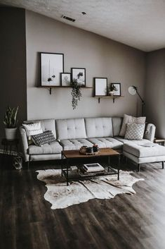 59 grey small living room apartment designs to look amazing 52 Modern Decoration modern living room decor Design Living Room, Living Room Grey, Living Room Modern, Home Living Room, Cozy Living, Simple Living, Living Room Decor Ideas Grey, Gray Couch Decor, Cow Hide Rug Living Room