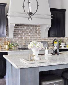 The brick backsplash is perfect for this farmhouse style kitchen! Farmhouse Kitchen Cabinets, Farmhouse Style Kitchen, Modern Farmhouse Kitchens, Home Decor Kitchen, Kitchen Interior, New Kitchen, Home Kitchens, Kitchen Backsplash, Backsplash Ideas