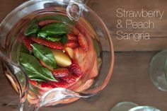 Strawberry and Peach Rose Sangria | What's Gaby Cooking