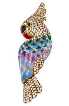 #Rhinestone #Enamel #Parrot #Brooch #Pins #Jewellery