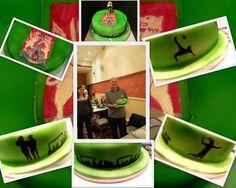Birthday cake for someone who likes line dance, badminton, football and Northampton Town FC