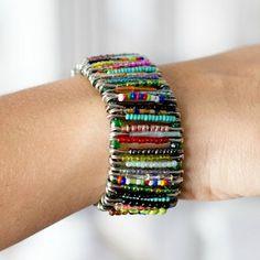 Seed Bead Safety Pin Bracelet