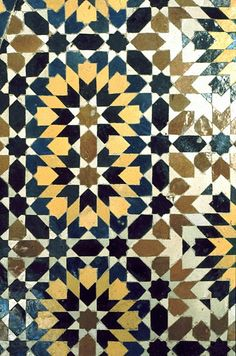 Image MOR 0509 featuring fountain, in Fez, Morocco, showing Geometric Pattern using ceramic tiles, mosaic or pottery.