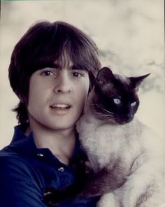 Davy Jones with friend. I love this guy even more because he loves cats. Plus, he was a jockey and I adore horses! Any man who loves animals is a good man.