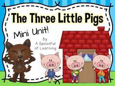 Three Little Pigs Mini Unit 3 Little Pigs Activities, Retelling Activities, Science Activities, Science Projects, Reading Activities, Preschool Literacy, Literacy Skills, Kindergarten, Literacy Centres