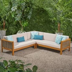 Highland Dunes Kennison Patio Sectional with Cushions Frame Color / Cushion Color: Teak Frame / Beige Cushion Patio Daybed, Patio Chairs, Beige Cushions, Outdoor Furniture, Outdoor Decor, Outdoor Sofas, Wayfair Patio Furniture, Outdoor Living, Landscaping