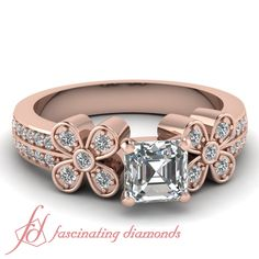 Asscher Cut and Round Diamonds 14K Rose Gold Side Stone Engagement Ring in Pave Setting || Twin Floret Ring