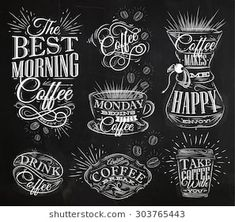 Set of coffee signs with lettering drawing chalk in vintage style on chalkboard