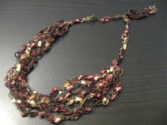 Yarn Necklace Instructions   Top / Trellis Yarn Necklaces / Crocheted Trellis Yarn Necklace Multi ...