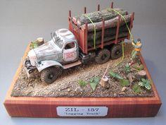 """Logging Truck"" by olivgrün. TRUMPETER 1/35 scale Soviet ZIL-157 truck. #diorama #scale_model"