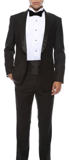 two one Slim Fit Tuxedo Shawl colar flat front trousers elegance 1 button Black #OneButton