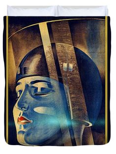 Fritz Lang's Metropolis Poster Duvet Cover, by Joy McKenzie, in several sizes, matching pillow available, on Pixels.com #duvet #interiordesign #Metropolis