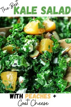 This is the BEST Kale Salad with Peaches and Goat Cheese!! Perfect for fresh summer peaches!! Kale salad never tasted so good. Super simple and easy Balsamic vinaigrette dressing. Easy and healthy vegetarian salad. Homemade Balsamic Dressing, Vegetarian Breakfast Recipes, Vegetarian Salad, Clean Eating Dinner, Clean Eating Recipes, Kale Salad, Vegetable Side Dishes, Vegetable Recipes, Healthy Baked Chicken