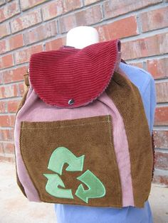 Toddler Sized Backpack  RECYCLE SYMBOL by bratsacksbaby on Etsy, $28.00