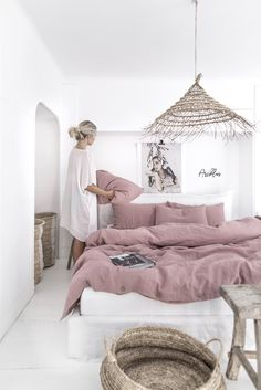 Linen bedding set in Woodrose (Dusty Pink). King/ Queen washed linen duvet cover set with 2 pillowcases. - Interiors I love - Linen bedding set in Woodrose (Dusty Pink). King/ Queen washed linen duvet cover set with 2 pillowc - Washed Linen Duvet Cover, Bed Linen Sets, Bed Sets, Bed Sheet Sets, Duvet Sets, Duvet Cover Sets, Ikea Duvet Cover, Double Bedding Sets, Linen Bed Sheets