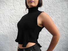 Your place to buy and sell all things handmade Sleeveless Turtleneck, Wool Blend, Custom Made, Knitwear, High Low, Vest, Turtle Neck, Crop Tops, Fabric