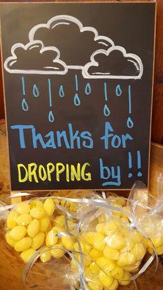 Lemon drop favors for a rain shower themed baby shower.                                                                                                                                                                                 More
