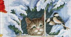 Este patrón de punto de cruz es de un gato que mira por la ventana a unos pájaros. El ambiente es nevado, pero me pareció un esquema tan...