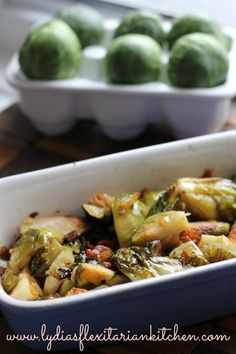 Bacon Roasted Brussels Sprouts ~ Lydia's Flexitarian Kitchen #bacon #roastedvegetables