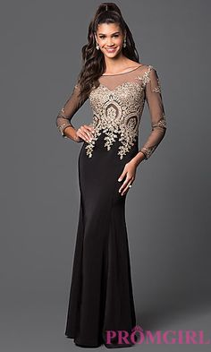 Floor Length Illusion Prom Dress with Jewel Detailing and Long Sleeves at PromGirl.com