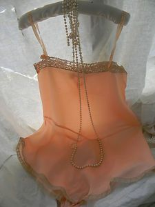 Vintage Antique 1920's Flapper Era Silk Teddy Combination Lingerie