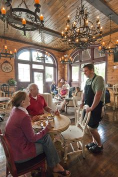 Owner Ron LaRocque greets customers at the Bryson City Cork & Bean, located in the historic 1904 Bryson City NC Bank building.