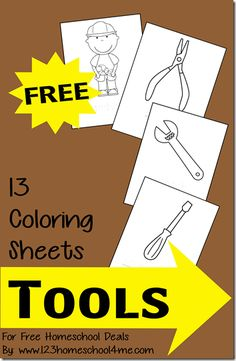FREE Tools Coloring Sheets - Use for games during Community Helper theme Community Helpers Preschool, Preschool Lessons, Preschool Activities, Preschool Letters, Construction Tools, Construction Birthday, Construction Theme Preschool, Construction Business, Coloring Sheets For Kids