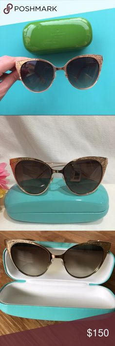 """Kate Spade Gold Glitter Sunglasses Please view last photo for sample model. Excellent used condition Kate Spade Gold Glitter Retro-Inspired Sunnies. temple length: 5.3"""" frame width: 5.4"""" lens width: 2.1"""" lens height: 1.5"""" bridge width: 0.62"""" kate spade Accessories Sunglasses"""
