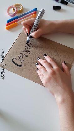 Hand Lettering Tutorial, Hand Lettering Alphabet, Cursive Letters, Doodle Lettering, Diy Letters, Creative Lettering, Lettering Styles, Brush Lettering, Lettering Design