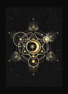 Metatron Cube, sacred geometry art print in gold foil and black paper with stars and moon by Cocorrina Sacred Geometry Symbols, Geometric Symbols, Geometric Shapes, Mandala Art, Flower Mandala, Illustration, Moon Design, Art Prints, Fibonacci Spiral
