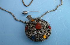 60's - 70's era Pewter perfume bottle/pendant with dauber.
