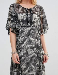 Image 3 of Style London Maxi Dress With Lace Up Top In Paisley Print