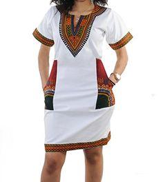 Women's Club Dresses - shekiss Women's Dashiki African Bodycon Dresses Bohemian Vintage Print Club Midi V-Neck Pockets at Women's Clothing store: Short African Dresses, Latest African Fashion Dresses, African Print Fashion, Ethnic Fashion, Style Fashion, Womens Fashion, Nigerian Fashion, Ghanaian Fashion, African Prints