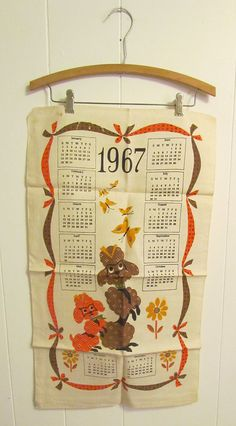 Vintage textile kitchen 1960s POODLE 1967 by loveloves2lovelove, $12.00