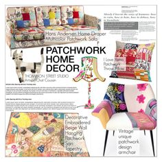 """Patchwork Home Decor"" by martso ❤ liked on Polyvore featuring interior, interiors, interior design, home, home decor, interior decorating, patchwork and homeset"