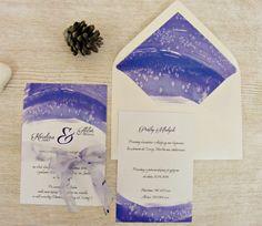 Zaproszenia ślubne ultrafiolet: ultrafioletowy szron