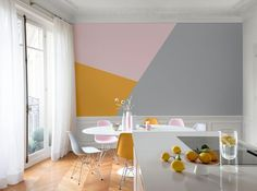 Color blocking is one great trend if you are up to achieving a modern look. Check out the color block kitchen guide and do it like a pro! Beautiful Interiors, Colorful Interiors, Block Wall, Wall Patterns, Apartment Interior, Apartment Ideas, House Colors, Decoration, Sweet Home