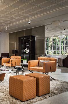 Bentley Home stylish living room design in Luxury Living Group new showroom, London 2014