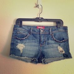 Distressed Studded Cutoff Jean Shorts Cutoff jean shorts have studded pockets Forever 21 Shorts Jean Shorts