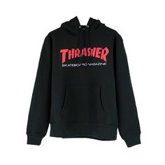 THRASHER RESURRCTION HOODIE / BLACK (100 AUD) ❤ liked on Polyvore featuring tops