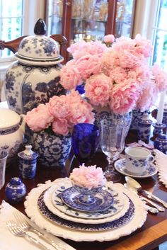 Blue and white porcelain with pale pink peonies