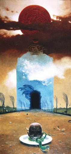 Zdzisław Beksiński, one of my favourite artists, if not my favourite. One of his less daunting pictures.
