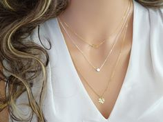 Layered necklace set of 3 Gold dot necklace 14k by LAminiJewelry