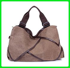 Longzibog Canvas 2016 New Simple Style Fashion Tote Top Handle Shoulder Cross Body Bag Satchel Brown - Totes (*Amazon Partner-Link)