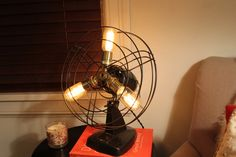 Buy Larger Cage and VERY robust vintage fan light with brass socketry and edison setup by industrialighting. Explore more products on http://industrialighting.etsy.com