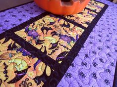 quilted halloween table runner witch moon 485 by