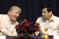 Donald Trump meets with Philippines President Rodrigo Duterte Rodrigo Duterte, Donald Trump, Manila, President Of The Philippines, War On Drugs, Gala Dinner, Kinds Of People, Us Presidents, Fake News