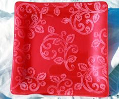 Red Holly Berry Fused Glass Plate, OOAK fused glass, Christmas dish, Christmas plate by HydeParkHill on Etsy